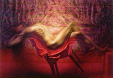 oil painting of female nude reclining on a chair.