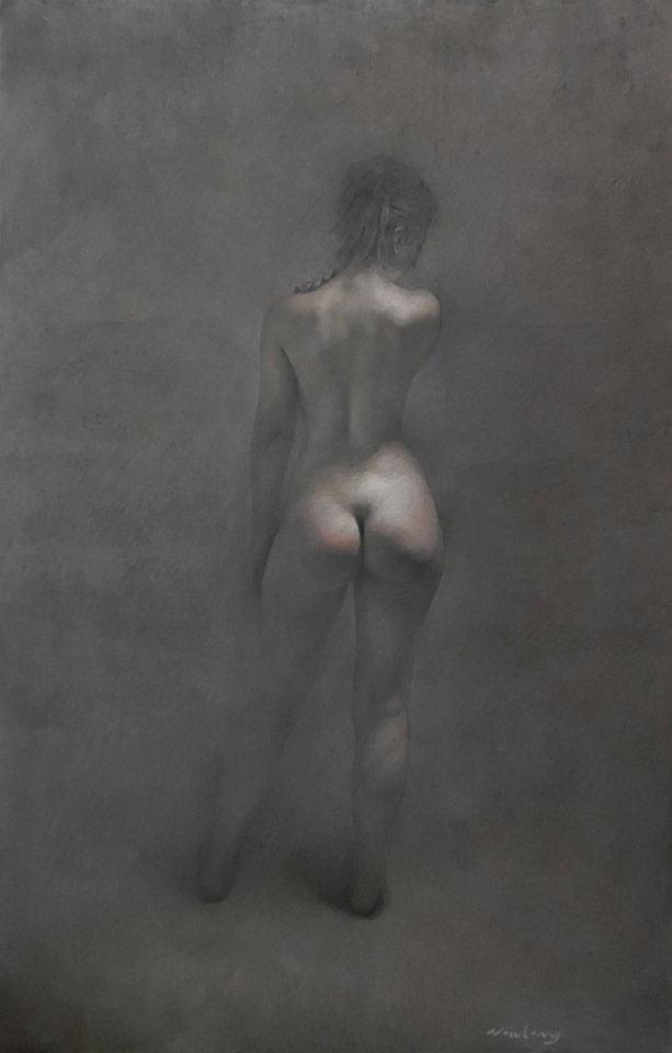 oil painting of the back view of Eve from Adam and Eve.