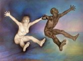 oil painting of a nude couple, hands clasped, jumping for joy in the sea.