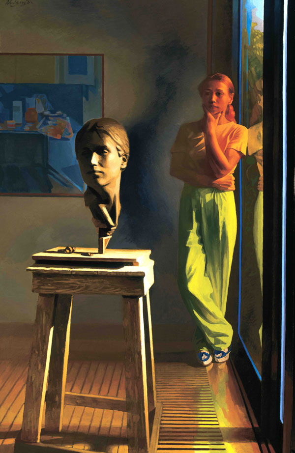 Contemporary oil painting of a sculptor examining her work.