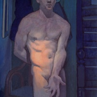 contemporary oil painting of a nude self-portrait