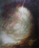 contemporary oil painting of a nude male immersed in dual forces of light and water.