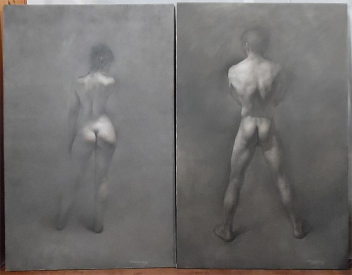 Adam and Eve, diptych, oil on linen, 72 x 96 inches.