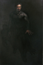 Man Moving Forward Out from Oblivion, oil on linen, 72 x 46 inches.
