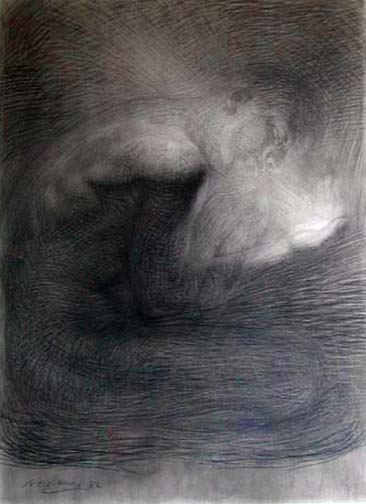 Newberry, charcoal of Rives BFK, male nude holding light