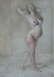 Katie Pregnant, oil on linen, 60 x 42 inches.