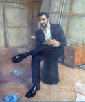 """The Collector"" oil on linen, 60 x 50 inches, studio inventory"