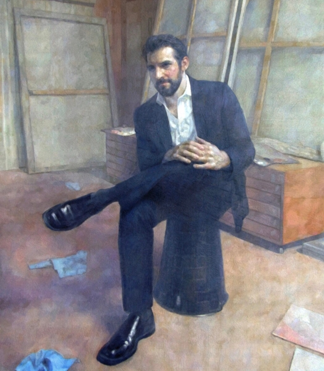 """The Collector"" oil on linen, 60 x 50 inches, private collection"