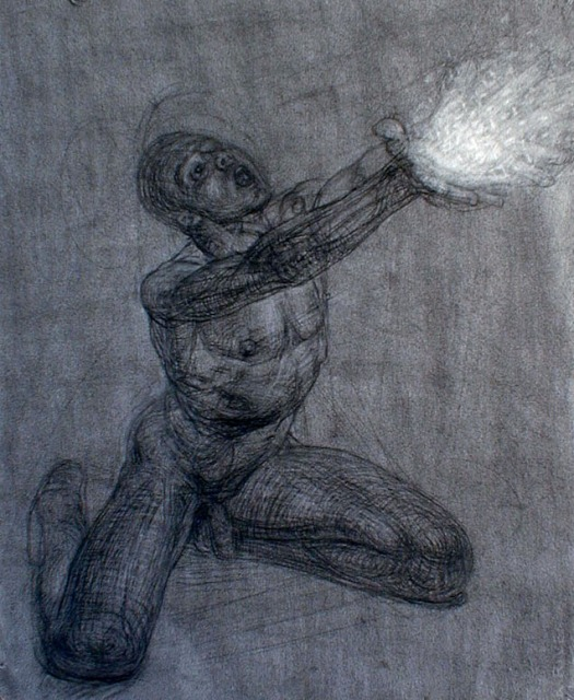 Charcoal Releasing Light Male Nude Study for God Releasing Stars into the Universe