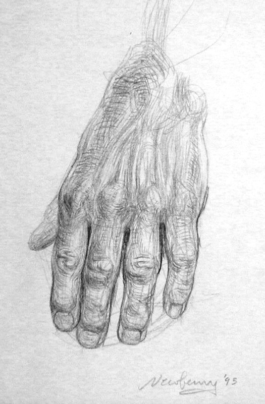 Graphite Hand Study for the Pond.