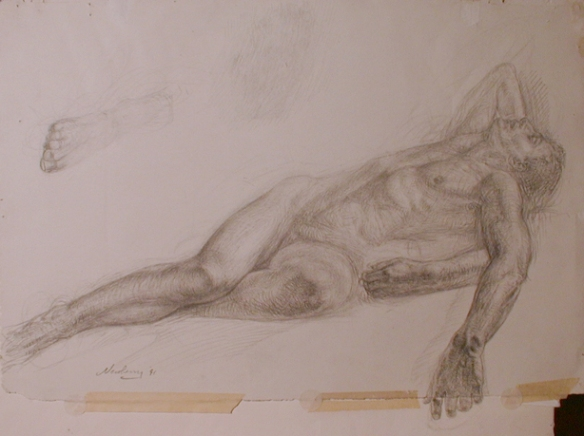 Graphite Male Nude Study for the Pond