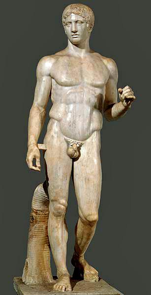 Doryphoros or The Canon, Polyclitus, Roman copy in marble of bronze original, c. 450-440 B.C.