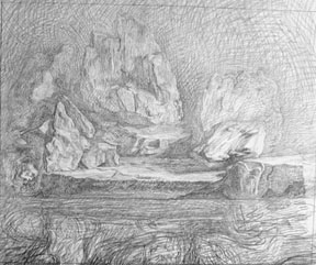 Graphite Landscape and Water Study for the Pond.
