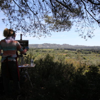 Landscape painting with Mathieu Brousses Provence Art Experience
