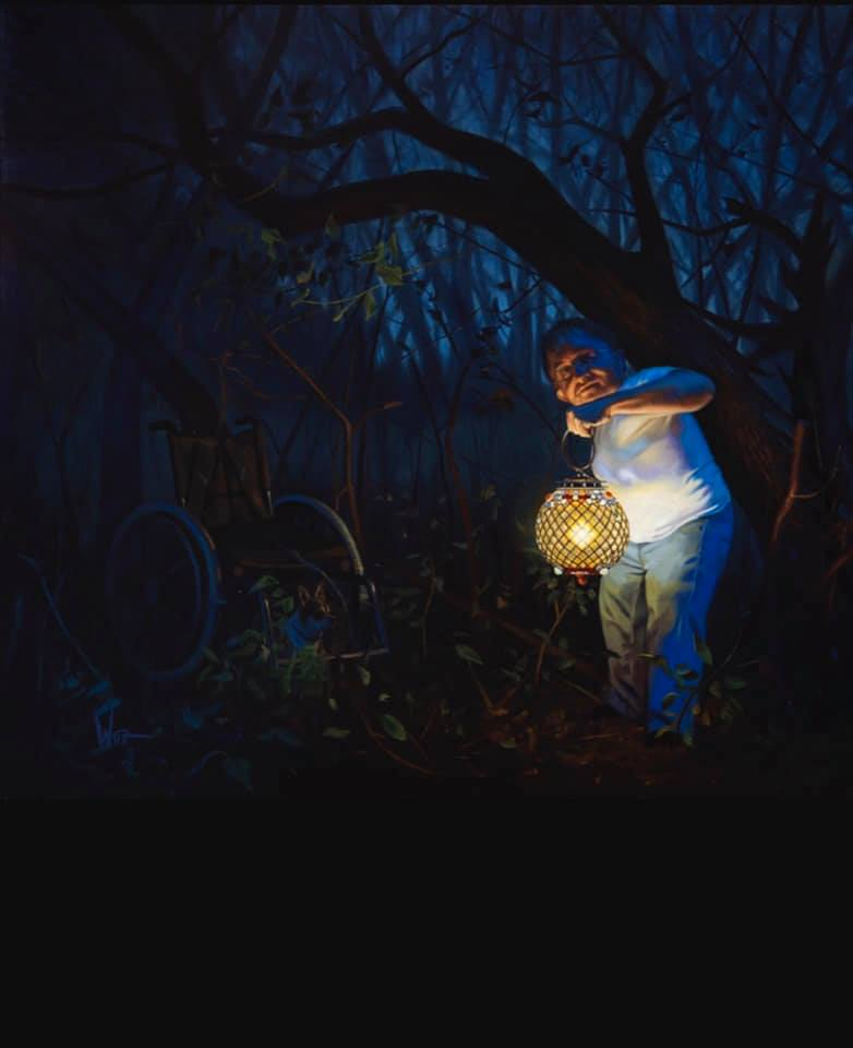 "Jon Wos, ""Lighting The Darkness"" Oil on Canvas 50.5"" x 46"""