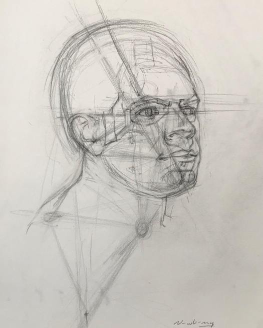 Newberry, Triangulation Head Study, graphite on Rives BFK, 19x13""
