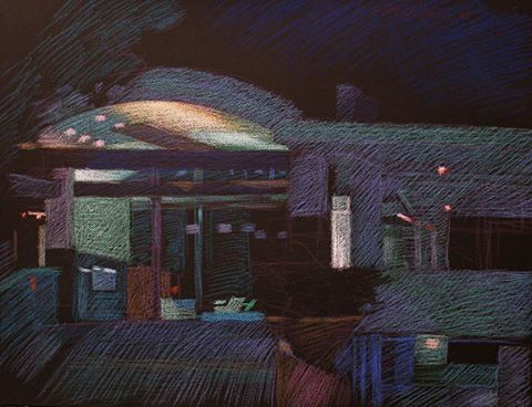 newberry-101-ocean-ave-pastel-on-dark-paper-pc