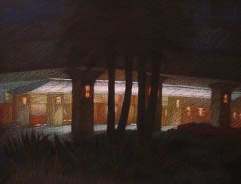 newberry-201-ocean-ave-in-santa-monica-pastel-on-dark-paper-pc