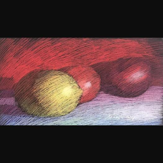 Three Fruits, pastel on dark paper, 13x19""
