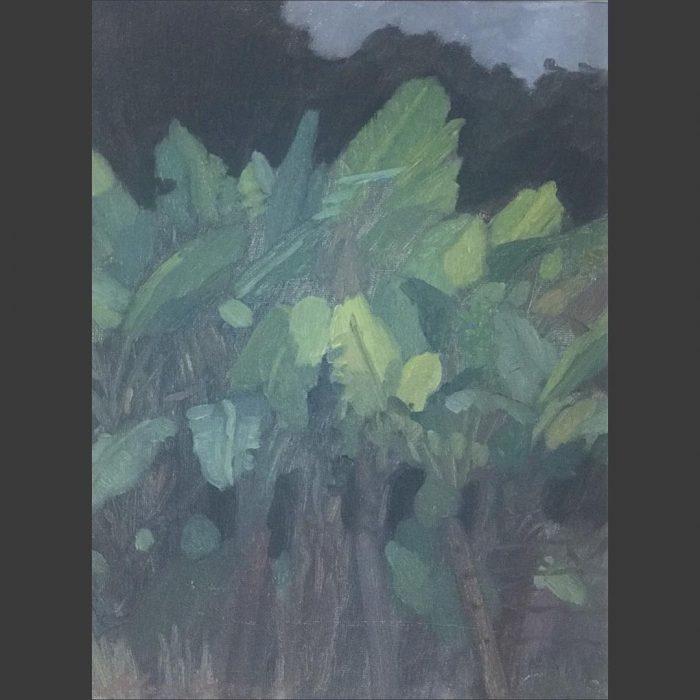 "Newberry, Banana Trees, 2010, oil on panel, 12x9"""