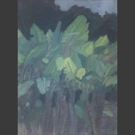 Newberry, Banana Trees, 2010, oil on panel, 12x9""