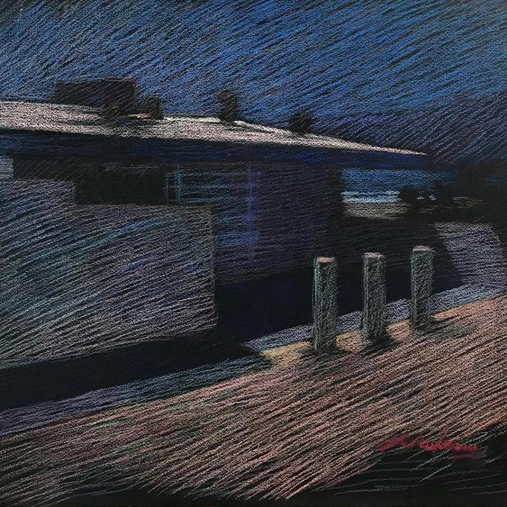 newberry-beach-house-in-santa-monica-pastel-on-dark-paper-sc
