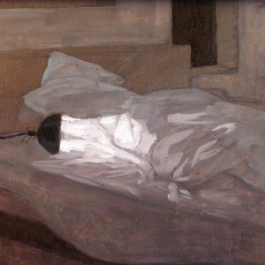 Newberry, Bedside Lamp, 2004, oil on panel, 9x12""