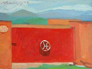 "Newberry, Bullring Gate, 2008, oil on panel, 9x12"""