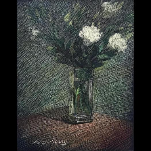 Camellias:Tribute to Manet, pastel on dark paper, 25x19""