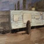 "Newberry, Arizona Camper, 2017, oil on panel, 9x12"""