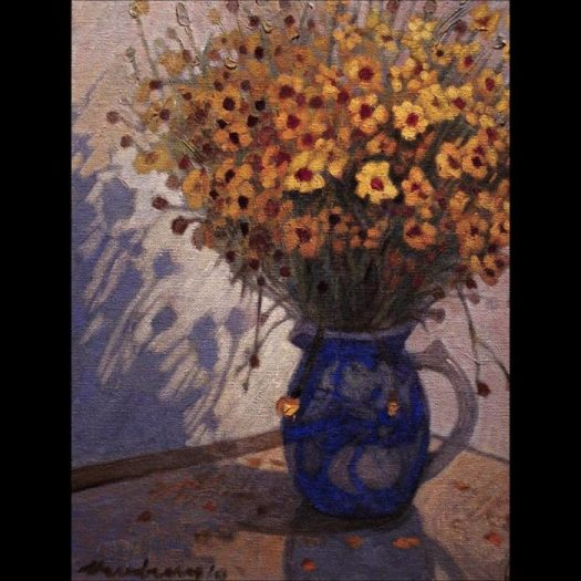 Newberry, Daises, 2010, oil on panel, 12x9""