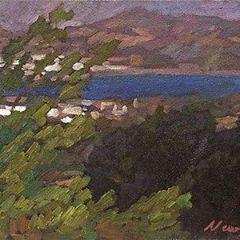"""Newberry, Faliraki, 2008, oil on panel, 9x12"""""""
