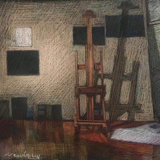 newberry-florida-studio-easel-pastel-on-dark-paper-sc