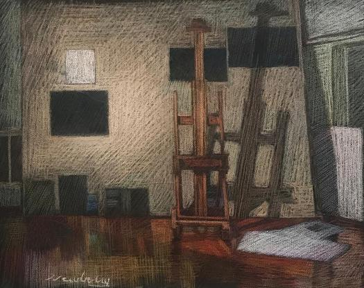 newberry-florida-studio-easel-pastel-on-dark-paper-sc