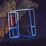 Pastel drawing of crates and window frames in Rhodes Greece.