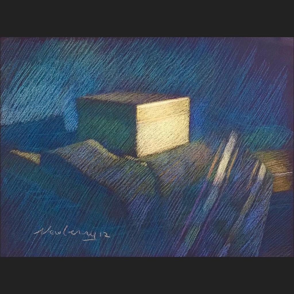 newberry-gold-box-on-blue-pastel-on-dark-paper-sc