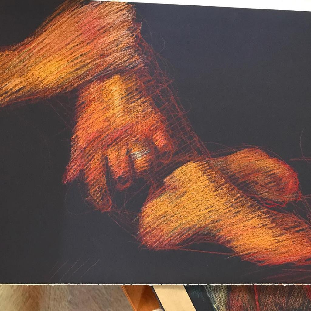 newberry-hands-and-feet-pastel-on-dark-paper-sc