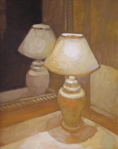 """Newberry, Gold Lamp, 2006, oil on panel, 12x9"""""""
