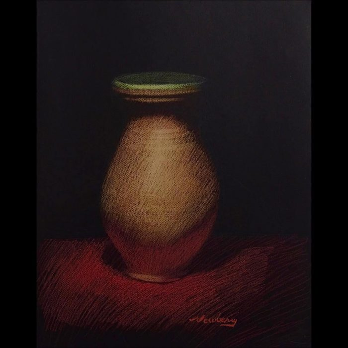 Jar with Green Lip, pastel on dark paper, 25x19""