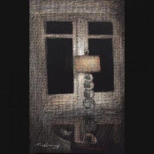 "La Jolla Lamp, pastel on dark paper, 19x13"""