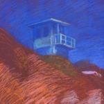 newberry-malibu-lifeguard-station-pastel-on-dark-paper-pc