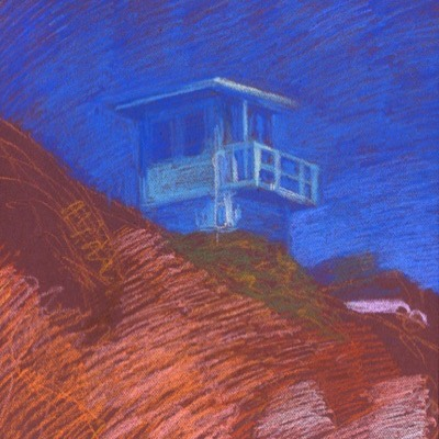 newberry-malibu-lifeguard-station-pastel-on-dark-paper-pc