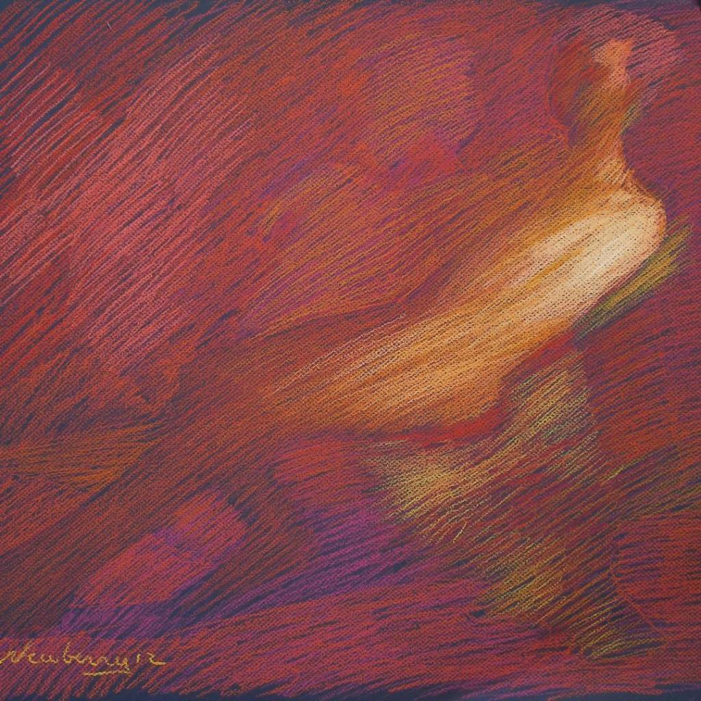 newberry-man-reclining-red-orange-pastel-on-dark-paper-sc