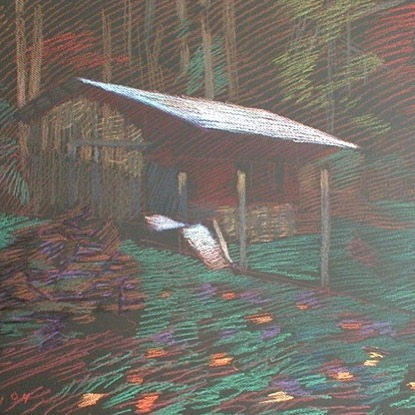 newberry-melissas-wood-shed-pastel-on-dark-paper-pc