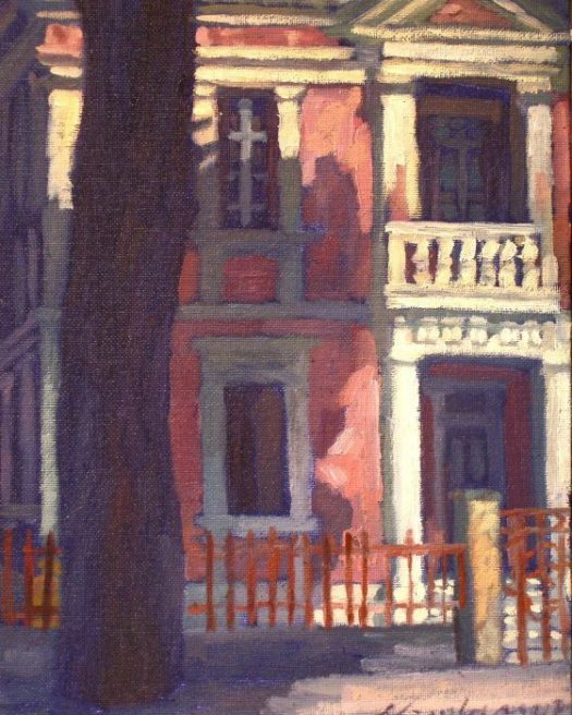 Newberry, Neo Classical Rhodes House, 2008, oil on panel, 12x9""