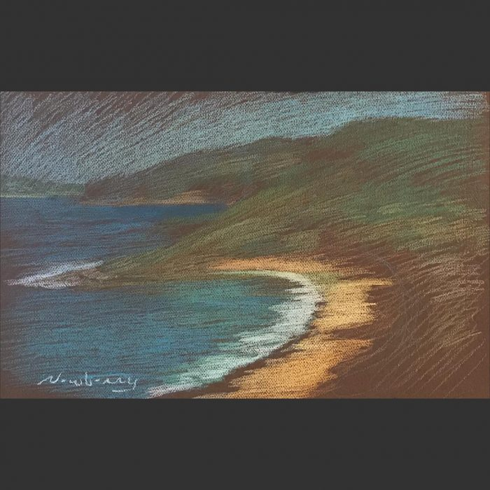 newberry-orange-sand-of-central-coast-pastel-on-dark-paper-sc