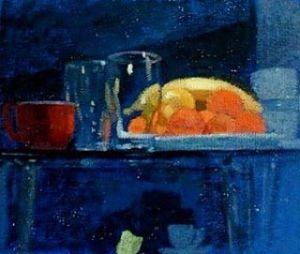 """Newberry, Oranges, 1998, acrylic on panel, 9x12"""""""
