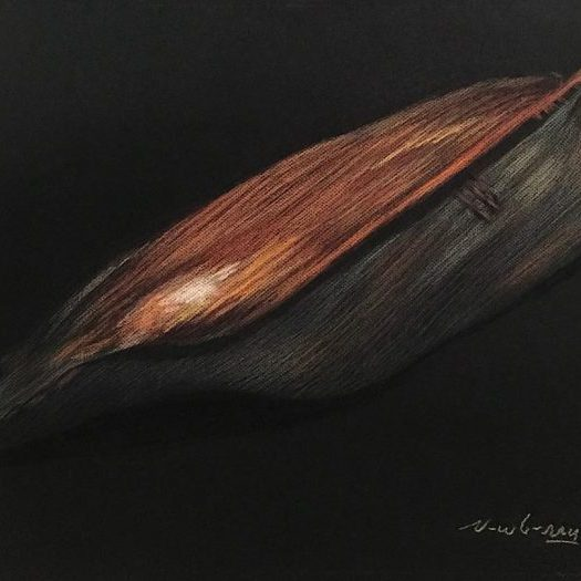 "Santa Monica Palm Fond, pastel on dark paper, 19x25"""