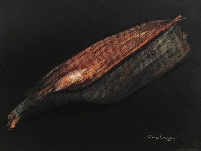 Santa Monica Palm Fond, pastel on dark paper, 19x25""