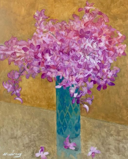 Newberry, Pink Orchids, 2010, acrylic on canvas, 24x18""